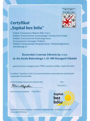 "Certyfikat ""Szpital bez bólu"""
